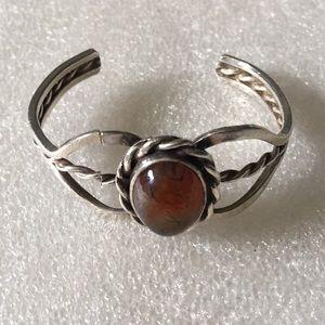 Vintage sterling  amber cuff